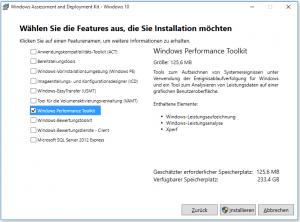 Screenshot Auswahl Windows ADK