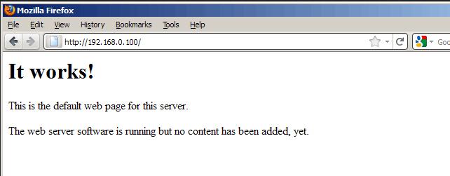 Screenshot Brosweraufruf vom apache2 Servers