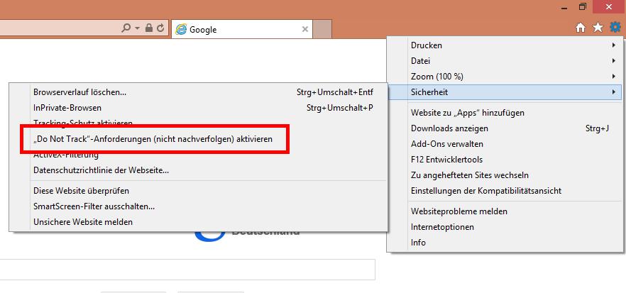 Screenshot der Einstellung bei Internet Explorer 11