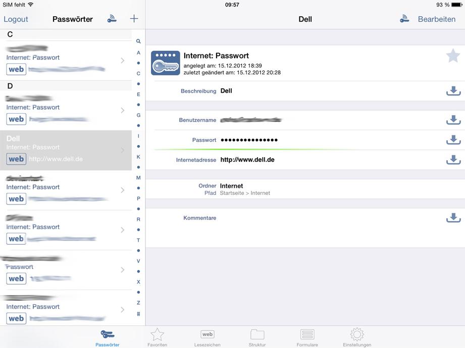 Screenshot von mobilen Endgerät (iPad)
