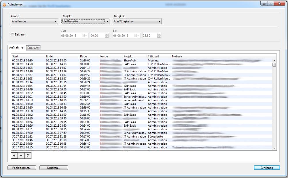 Screenshot Tätigkeitenliste TimeEdition