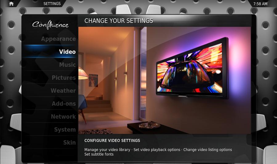 Screenshot vom XBMC Einstellungsmenü
